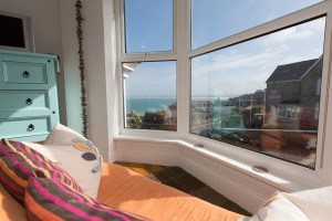 The spectacular view of St Ives bay from room 1