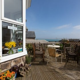 View of the St Ives bay from the sun terrace