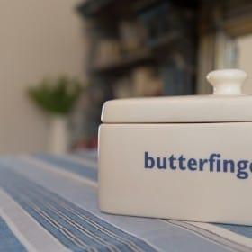 Butterfingers butterdish