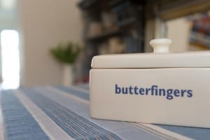 Butterfingers butterdish