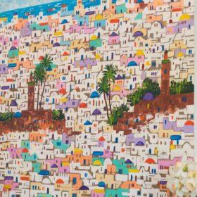 Moroccan art in the breakfast room